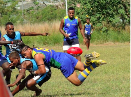 Captain of the Nationals, Ringamoto Mosese lays a strong tackle