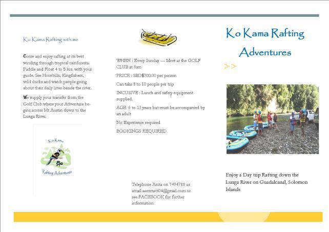 Ko Kama Rafting Brochure blue